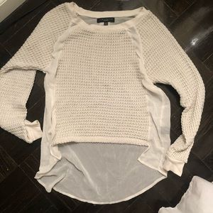 Sanctuary XS mixed material cream sweater